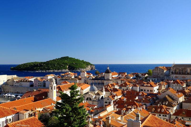 Clear Sky Sky Blue City Sea Architecture High Angle View Travel Destinations Cityscape Roof Building Exterior Outdoors Architecture Landscape Travel Favourite Places History Croatia_photography Croatian Landscape Dubrovnik Old Town Dubrovnik - Croatia❤
