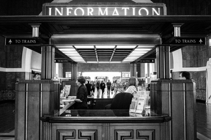 Amtrak Architecture Blackandwhite Information Los Angeles, California Streetphotography Train Station Union Station On The Way