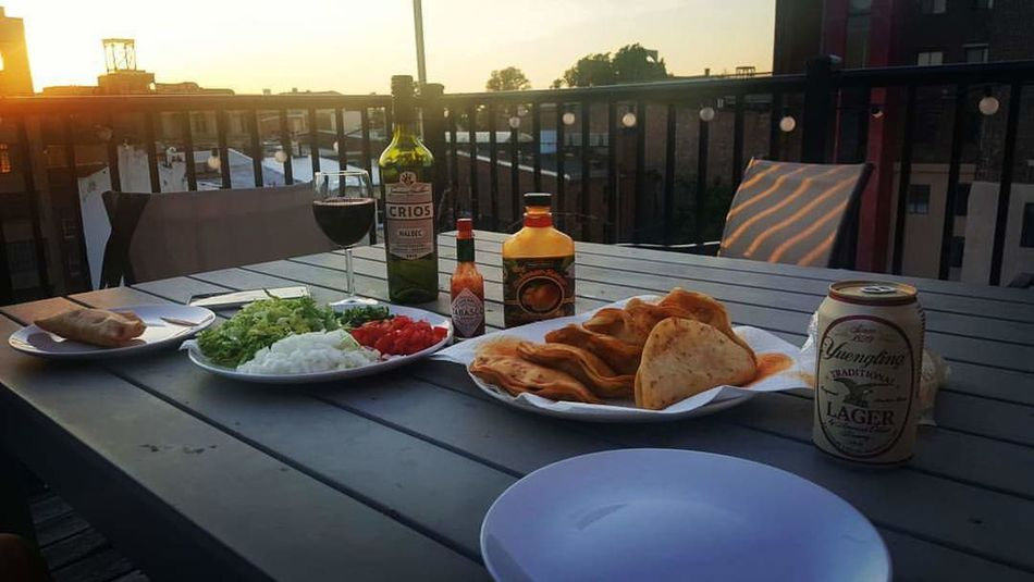 Food And Drink Food Meal Balcony Dinner For Two Rooftop Wine Mexican Beer Tacos