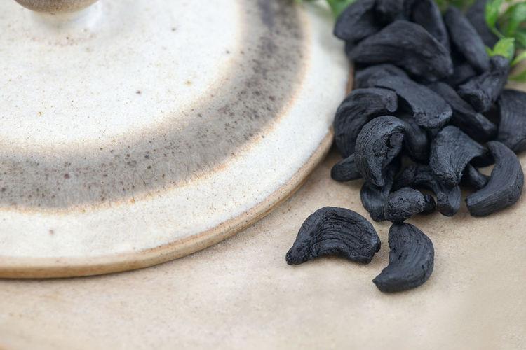 Close-up of black garlic cloves