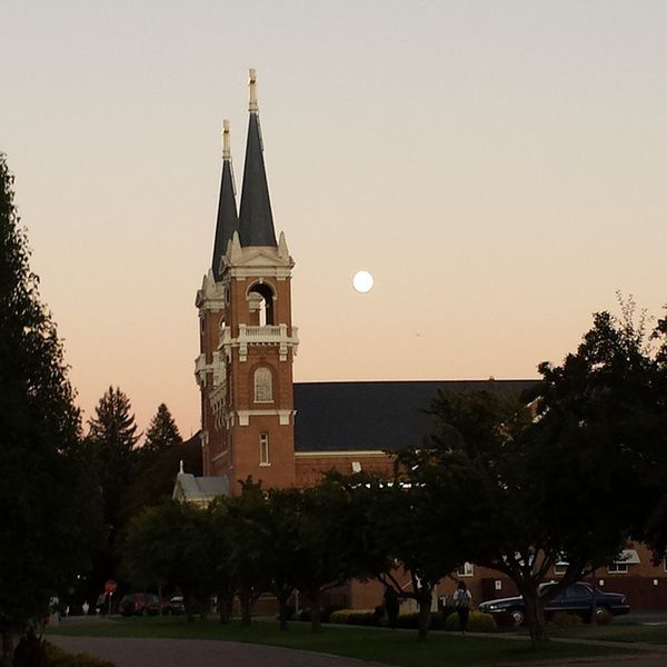 Full moon over the church Gonzaga StAloysiusChurch Fullmoon Spokane