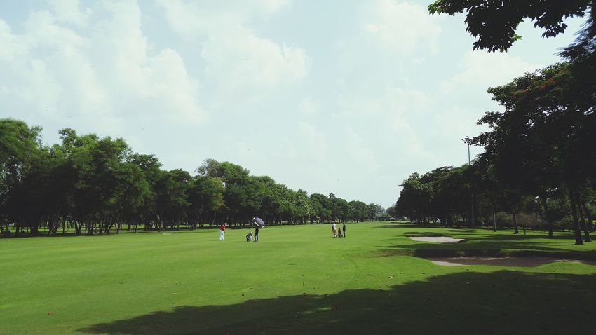 Morning Tee. Tree Grass Green Color Nature Non-urban Scene Beauty In Nature Cloud Lawn Outdoors Cloud - Sky Golf Golfcourse Golf ⛳ Golf Course