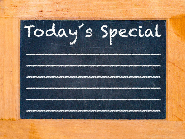 Today special text on blackboard