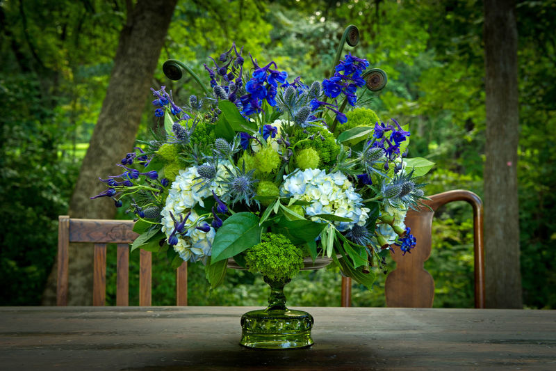 Wedding flower arrangement Beauty In Nature Blue Close-up Day Floral Arrangement Flower Flower Head Fragility Freshness Green Color Growth Nature No People Outdoors Plant Purple Wedding