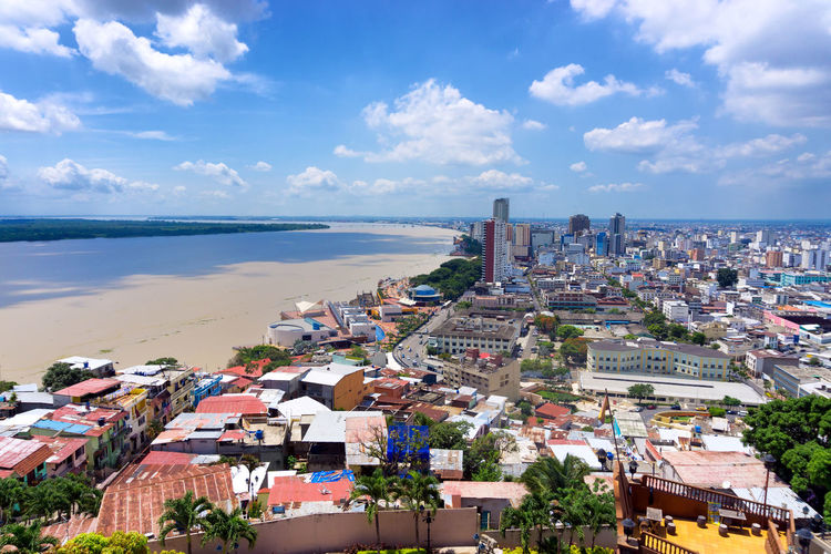 High angle view of cityscape by guayas river