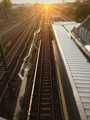 Railroad Track Transportation Rail Transportation High Angle View Travel Outdoors Public Transportation Sunlight Sunset No People Day Nature Sky From The Archives