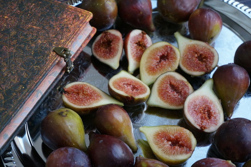 High angle view of figs in plate