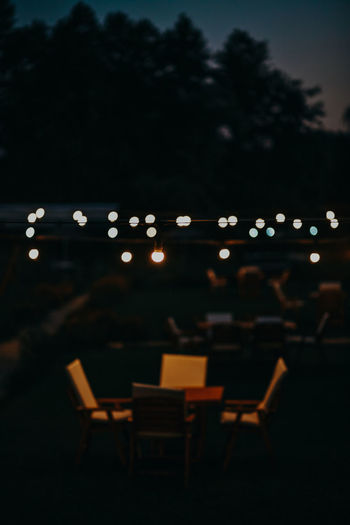 Defocused image of empty chairs at night
