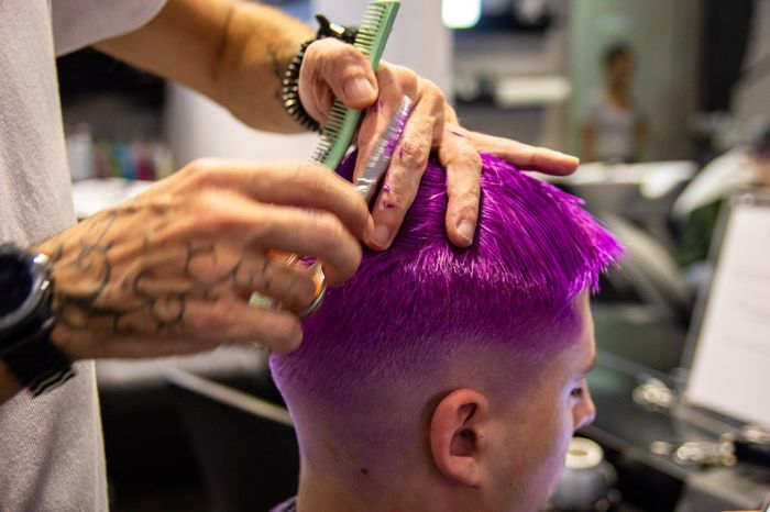 Hair cutting Hairdresser Hair Color Haircut Hair EyeEm Selects Human Hand Hand Real People Focus On Foreground Close-up Human Body Part People Lifestyles Purple Adult Men Day Indoors  Pink Color Art And Craft Finger