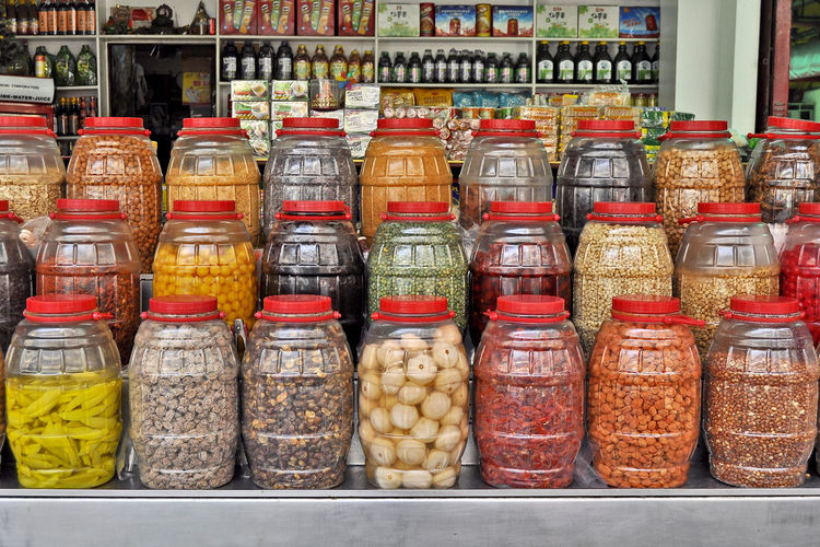 Variety of food in market stall