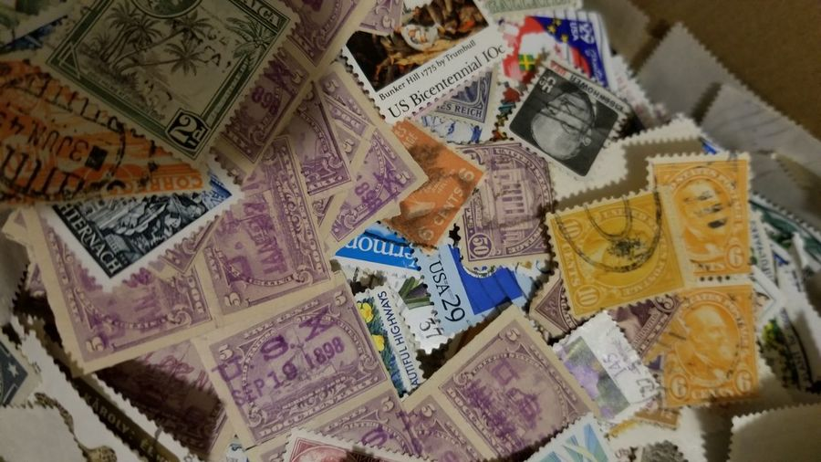 Backgrounds Currency Multi Colored Wealth Close-up Postage Stamp Fanned Out Envelope Love Letter Mail Slot Correspondence Mailbox Send Letter Mail