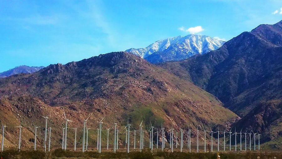 Mountain Landscape Nature Tree No People Outdoors Sky Sunset Day Southern California Turbines Mountain Peak Uniqueness Southern California Lifestyle