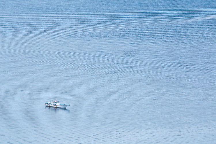 High angle view of trawler on sea
