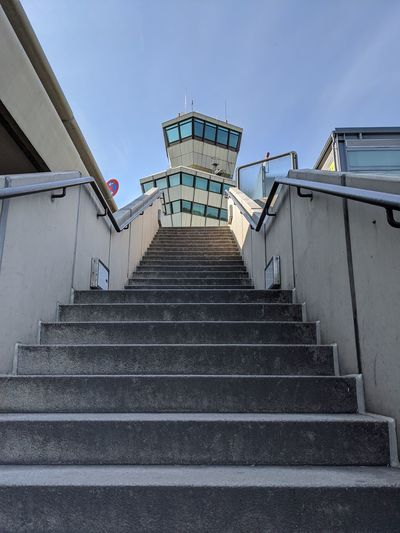 Low angle view of staircase against building