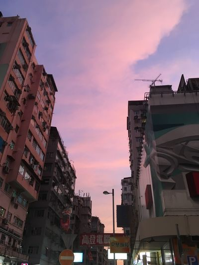 Pink sky in the