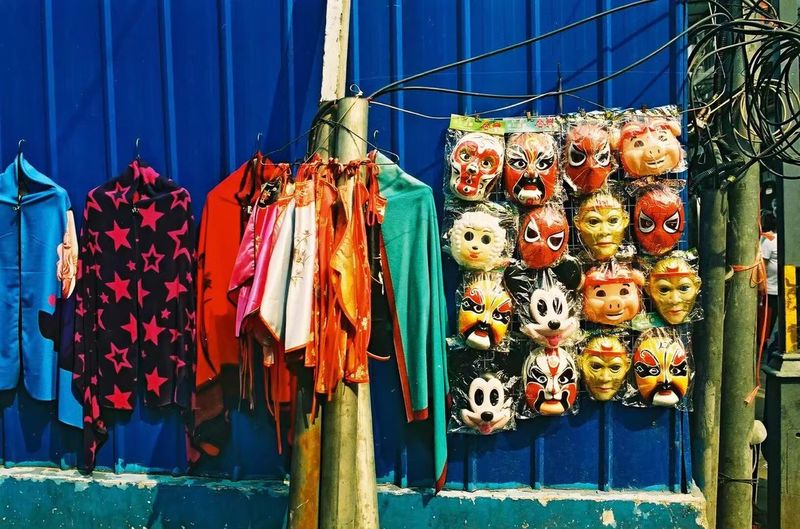Close-up of clothes drying for sale