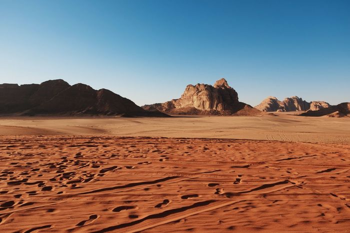 Desert Sand Arid Climate Clear Sky Nature Sand Dune Landscape Scenics Geology Beauty In Nature Rock - Object Tranquil Scene Tranquility Copy Space Extreme Terrain Physical Geography Outdoors Day Travel Destinations No People Fresh On Market 2018