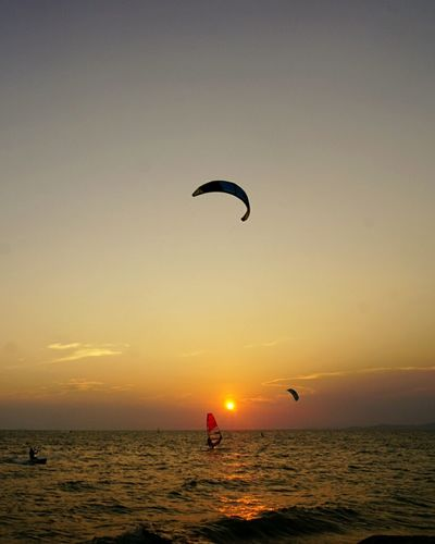 Sea And Sky Pattaya Sunset Sailing Cayaking Parachute Water Activity