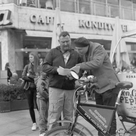 Interaction. Asking For Help Black And White Film Photography Fomapan 200 Helping People Medium Format Vienna Xenar 3.5/75mm Street Photography