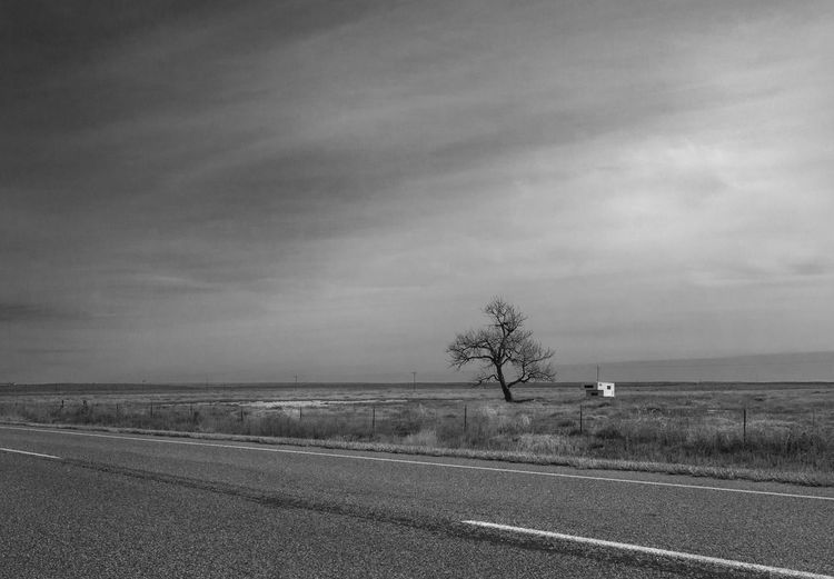 Lone Tree Abandoned Camper Black And White Black And White Collection  Camper Cloud - Sky Country Road Empty High Plains Landscape Lone Tree Non-urban Scene Outdoors Prairie Road Rural Sky Tranquil Scene West Kansas Fine Art Photography