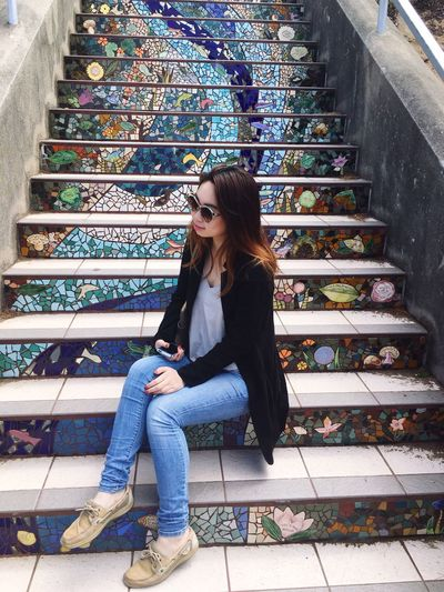 """act natural"" Sitting One Person Outdoors San Francisco Street Photography View Architecture Stairs Tiles IPhoneography"