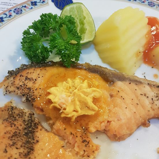 Salmon steak with butter herb Food Healthy Eating Food And Drink Bangkokeater