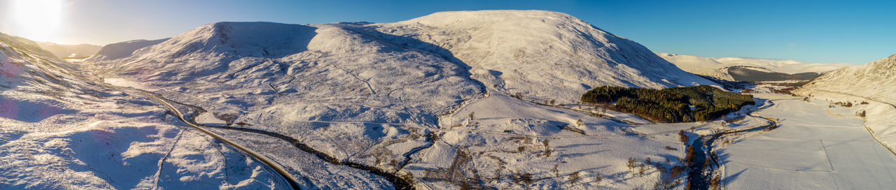 Panoramic Snow Road to Glenshee Aerial Shot Cairngorms National Park Drone  Panorama Scotland Snow Scape Winter Aerial Braemar Droneshot Landscapes Snow Snow Road Snow Scene  Winter Sun