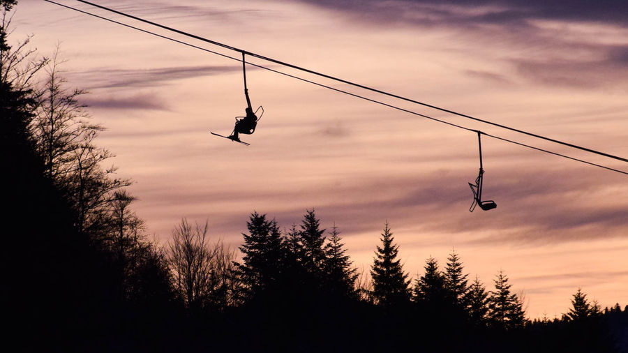 Ski-lift, La Bresse Ski Ski-lift Tree Sunset Hanging Silhouette Sport Steel Cable Sky