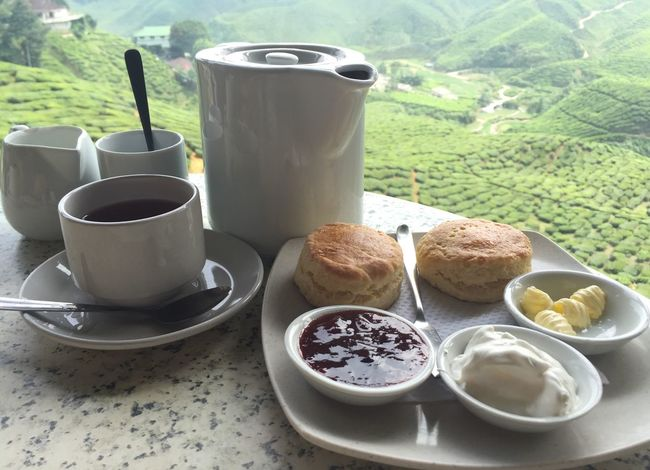 Enjoy the nice view with a cup of nice tea and a piece of nice cake!