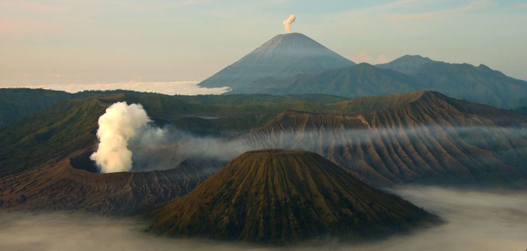 Gunung Bromo Beauty In Nature Erupting Landscape Mount Bromo, East Java - Indonesia Mountain Nature No People Scenics Sunrise Tranquility Volcanic Crater Volcanic Landscape Volcano