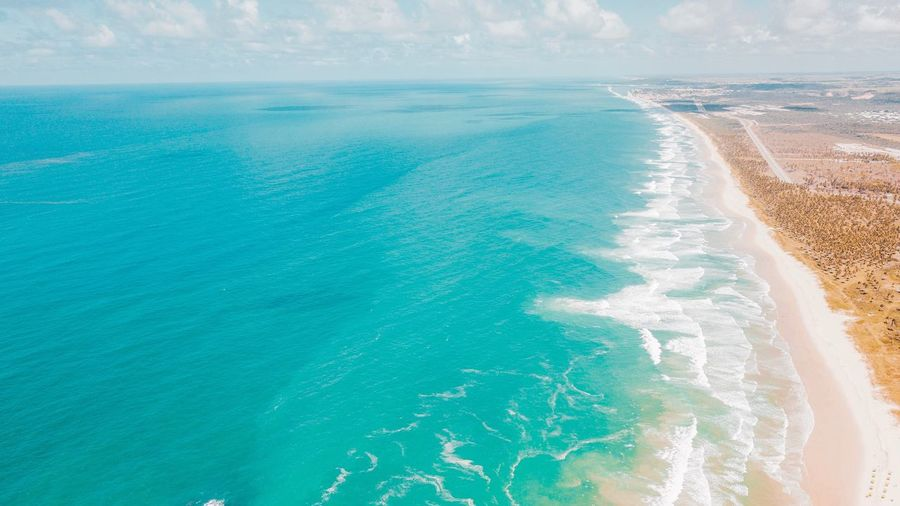 Visual ocean Beach Drone  Wallpaper Water Sea Land Beauty In Nature Nature Tranquility Beach Tranquil Scene Day Idyllic Blue Turquoise Colored Scenics - Nature Sunlight Outdoors No People Summer Travel Aerial View Swimming Pool
