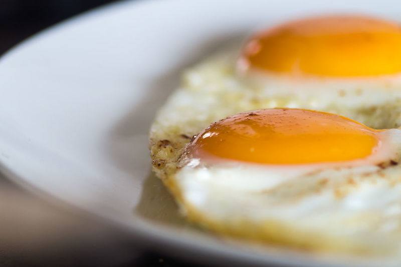 Close-Up Of Fried Eggs In Plate