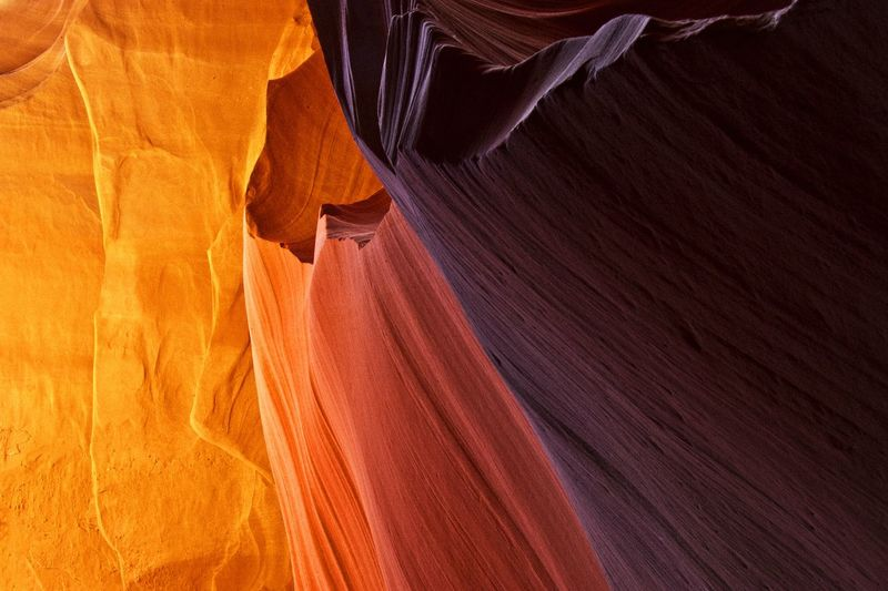 Low angle view of rock formation at antelope canyon