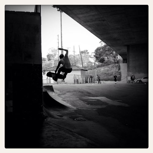 A Freeway Runs Overhead | San Pedro's Channel Street Skatepark | Situated under the 110 freeway and across the street from one of, if not the world's busiest ports, the Channel Street Skatepark. Originally started by skaters in an unofficial capacity abou