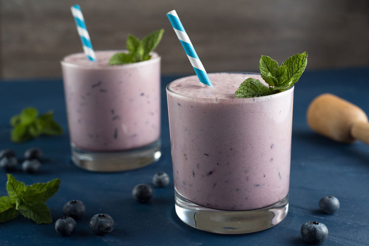 Blueberry smoothies in small glasses Blue Straw Blueberry Blueberry Smoothie Healthy Smoothie Smoothie Superfood Smoothie