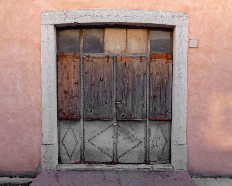 Very old damaged metal and wooden gate Abandoned Bad Condition Closed Damaged Day Deterioration Door Entrance Gate Italy Metal No People Obsolete Old Pink Grey Black Brown White Protection Rusty Metal Safety Scratched And Cracked Wood Square Wall Weathered Wood Wood - Material Wooden