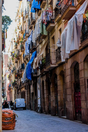 Cultures Lifestyles Living City Street Neighborhood Classic Raval El Raval Clothes Tender Occupation People Portrait Of A City Barcelona Snapshots Of Life Clothline The Clothline Sun Energy Ecology Drycleaning Nature Power Resources SPAIN