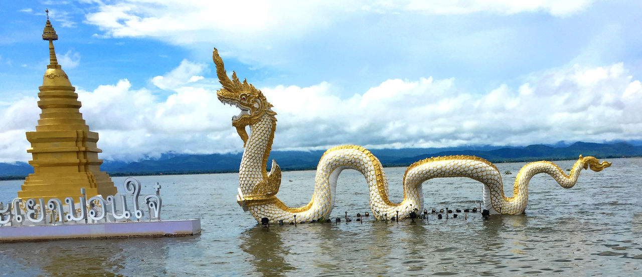 Cloud - Sky Sky Water Art And Craft No People Craft Day Creativity Building Serpent Naga Statue