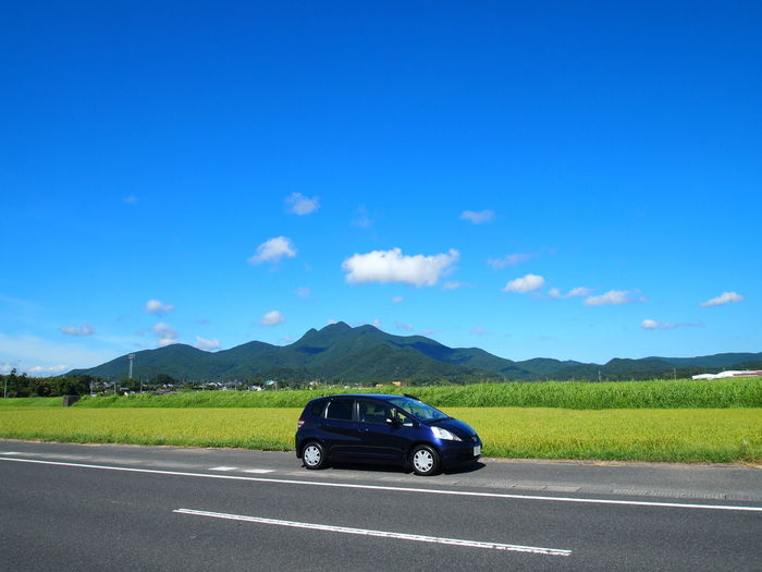 Mt. Kimpo Beauty In Nature Blue Car Honda Fit Kagoshima Japan Landscape Mountain No People Outdoors Road Sky Transportation