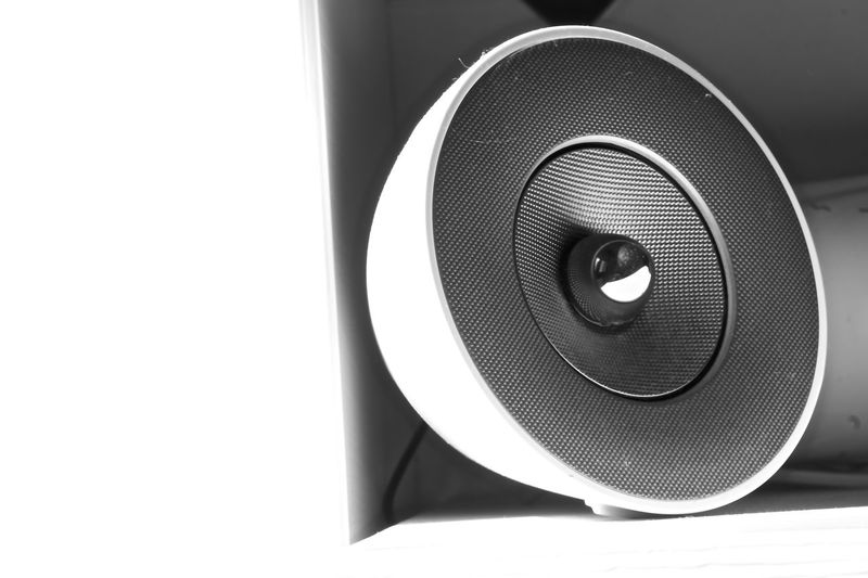 Arts Culture And Entertainment Black Color Blackandwhite Close-up Indoors  Listening Modern Music Music No People Single Object Stereo Studio Shot Technology White Background
