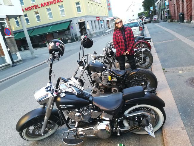 Scandinavianliving Transportation Motorcycle Mode Of Transport Land Vehicle Day Full Length Outdoors Stationary One Person Adult City Real Life Women Ridingmyownbike HarleyDavidsonMotorcycles Female Portraits Streetphotography Arendal Norway Scandinavian EyeEm Ready   Fashion Stories Love Yourself Mobility In Mega Cities Stories From The City Summer Exploratorium