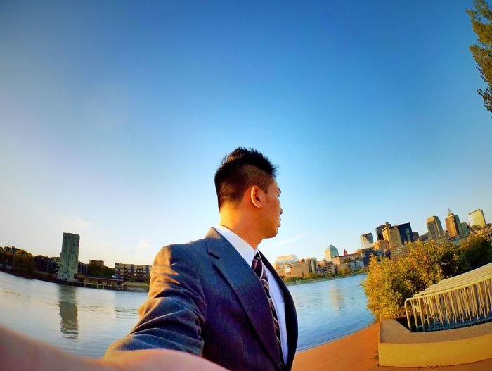 Only Men Business Finance And Industry One Man Only Businessman Suit Business Adults Only Outdoors Sky Day Water Connection One Person Adult People Bridge - Man Made Structure Men Well-dressed Young Adult
