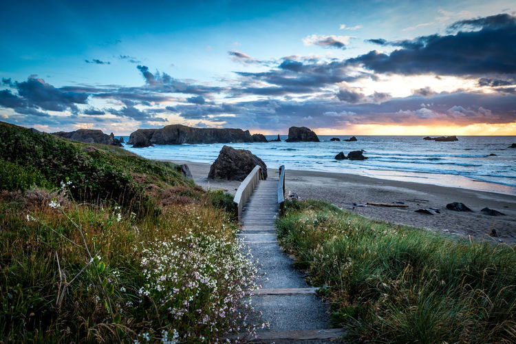 Walkway down to the Beach Bandon Oregon Coastline Bandon Beach Beauty In Nature Boardwalk Cloud - Sky Coast Direction Grass Horizon Horizon Over Water Land Nature No People Non-urban Scene Outdoors Scenics - Nature Sea Sky Sunset Tranquil Scene Tranquility Water