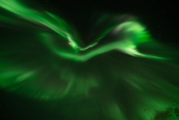 Aurora Borealis in Norway Geomagnetic Disturbance Kp-index Northern Lights Polar Lights Astronomy Beauty In Nature Galaxy Geomagnetic Storm Glowing Green Color Low Angle View Motion Natural Phenomenon Nature Night No People Outdoors Power In Nature Scenics - Nature Science Sky Space Star - Space Tranquility Water