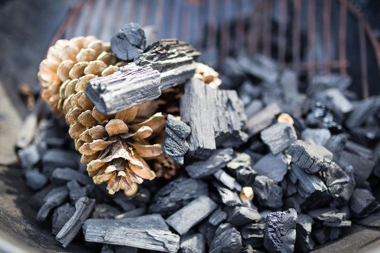High angle view of firewood