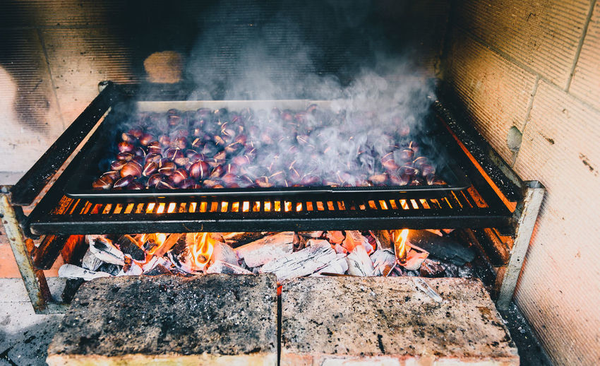 High Angle View Of Food Over Barbecue Grill