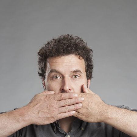 Man Negative Not Senses Close-up Front View Gray Background Headshot Human Body Part Impairment Male Mid Adult Men Mood One Person People Portrait Speaking Studio Shot Talking