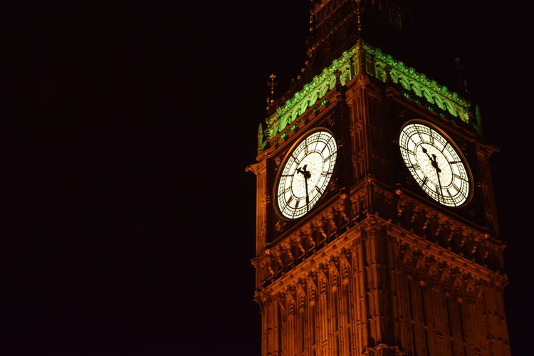 Architecture Big Ben Big Ben London Big Ben, London Building Exterior Built Structure City Clock Clock Face Clock Tower Close-up From Below Hour Hand Illuminated London Low Angle View Minute Hand Night Night Time No People Outdoors Roman Numeral Time The Architect - 2017 EyeEm Awards