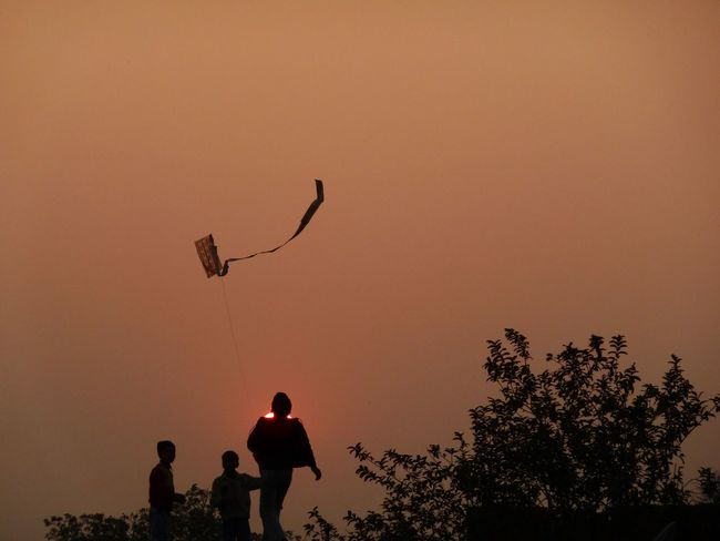 Sunset Kite boys in Kushinigar Kite Flying Kite Play Sunset #sun #clouds #skylovers #sky #nature #beautifulinnature #naturalbeauty #photography #landscape Sunset Silhouettes Sunset_collection Sunset India Silhouette Two People Sunset Togetherness Adult People Men Standing Tree Child Real People Outdoors Flying Young Adult