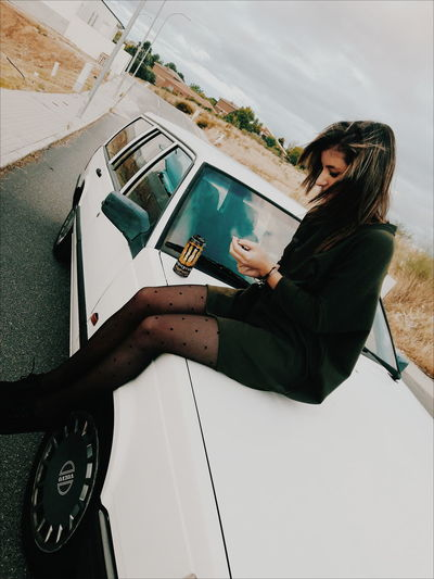 💥🌎📍 One Person Adult Young Adult People Day Car Volvo Volvocars Roadtrip Girl Driving Sky Road Outdoors Cloud - Sky Lovely Winter Love Naturephotography Nature Happiness Wintertime